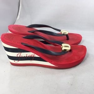 Juicy Couture Size 6 red white blue wedge sandals